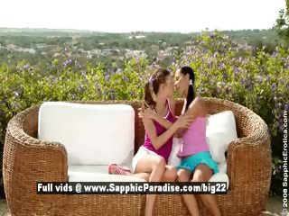 Devin and Juliette cute superb lesbos kissing and teasing outdoor