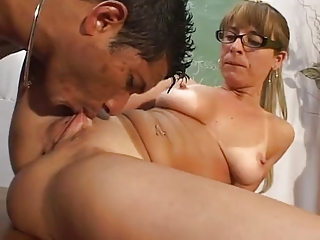 Glasses Licking MILF Pussy SaggyTits Shaved Teacher