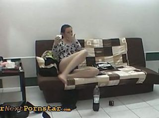 Crazy wannabe does sexy striptease and blowjob
