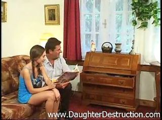 Daddy Daughter Old and Young Pigtail Teen