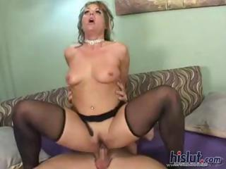 Blonde MILF Kelly has small tits but she makes up for it with her fuck holes