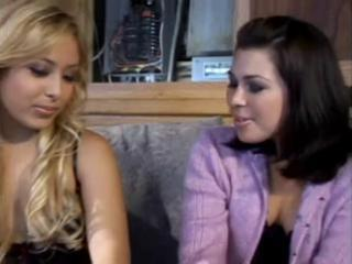 Two Babes On The Couch Get A Hard Cock For Them To Play With