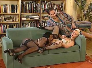 Ebony Interracial Licking MILF Pornstar Stockings Threesome