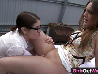 Abducted lesbian gets licked on the car tubes