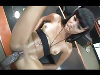 Huge black cock in her tight black pussy tubes