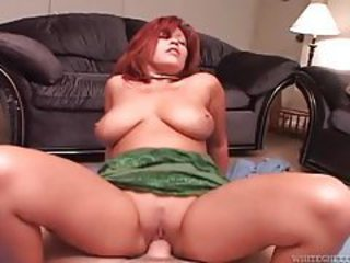 Curvy redhead hardcore sex on top of his cock tubes