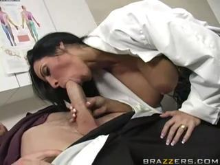 Superb busty brunette doctor sucking huge fat cock