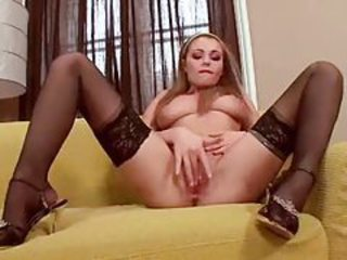 Stockings and heels on finger banging beauty tubes
