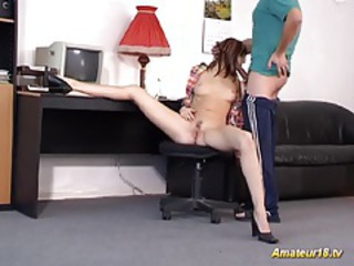 Flexible beauty gets odd fuck tubes