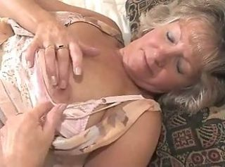 Adorable Granny Toying In Fully Fashioned Stockings