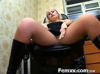 Femdomme Madam Enjoying Chastity