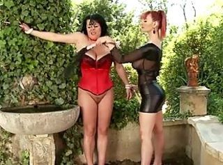 Latex MILF Outdoor Slave