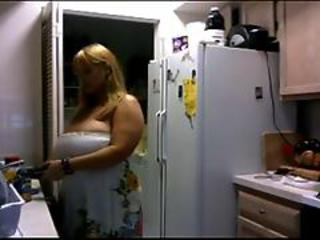 Bbw Flashing Big Boobs For Me In Her Kitchen No Sound