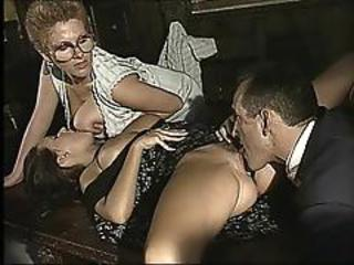 Big Tits Clothed Glasses Licking MILF Threesome Vintage