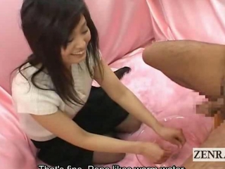 Subtitle CFNM Japan office young gentleman soapy handjob..