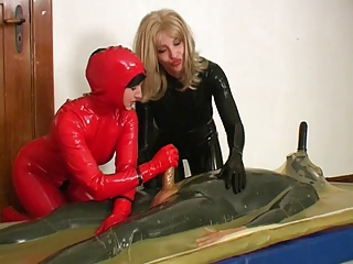 2 lickerish wives rubber + a guy with 2 cocks