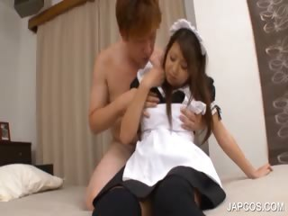 Asian blowjob with topless maiden