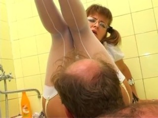 Glasses Licking MILF Old and Young Pigtail Russian Stockings