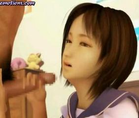 Asian animated cutie rubbing a cock and gets cum inside
