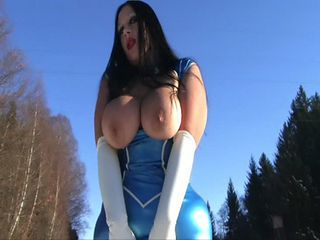 Big Tits Latex MILF Outdoor