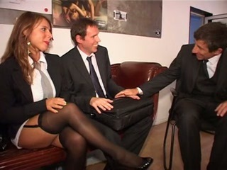 European German MILF Secretary Stockings Threesome