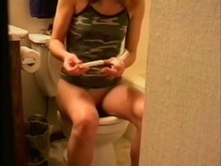 Toilet Masturbation With Tampon
