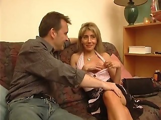French blonde with two men