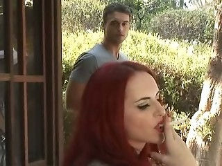 Amazing MILF Outdoor Redhead Smoking