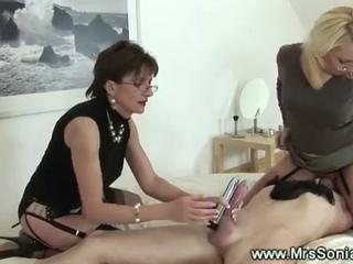 CFNM Facesitting Femdom Glasses Handjob Licking MILF Slave