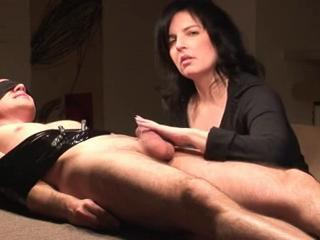 Perfect mature wife wanks tied up husband