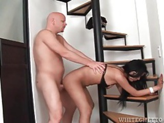Shemale bends over and takes cock in ass tubes