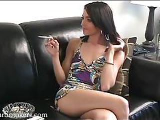 Petite and nubile brunette teen teasing with her smoke tubes
