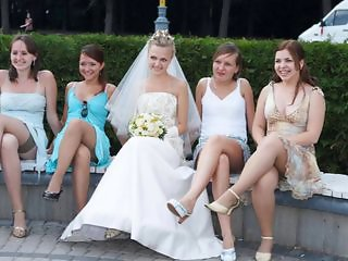 Bride Legs Outdoor Stockings Teen Upskirt