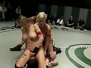 Horny lesbian sluts fight hard strangling eachother and using strapon for wild sex pleasures