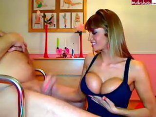 Amazing Big Tits Handjob MILF Silicone Tits Webcam