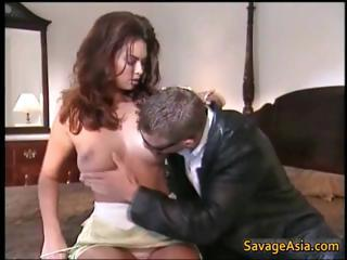 Asian whore gets shaved pussy fucked part3