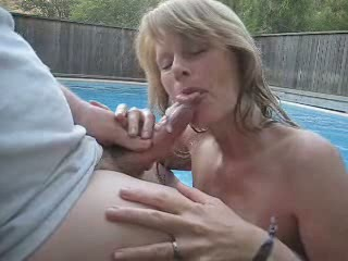 Blowjob Cumshot Mature Outdoor Pool Swallow