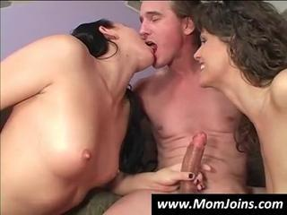 Big cock Daughter Family Handjob MILF Mom Old and Young Teen Threesome