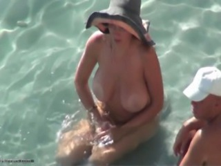 Beach Big Tits Nudist Outdoor SaggyTits Voyeur Wife