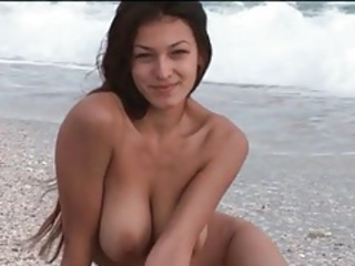 Babe Beach Big Tits Cute Long hair Natural Outdoor