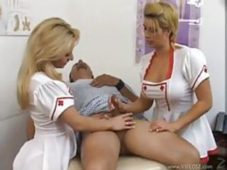 Amazing Handjob MILF Nurse Threesome Uniform