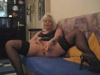 Blonde Masturbating MILF Smoking Stockings Toy