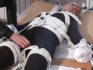 Girl In Bondage Bed, Cuffs And S...