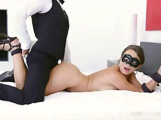 Brunette eats cock, gets tied up and masked to get fucked and eat cum