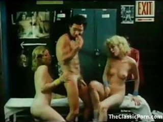Locker room threesome with classic chicks tubes