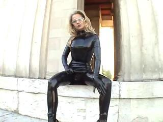 Fetish Latex MILF Outdoor Public
