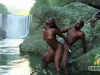 caribbeanflaver.com  island model fucking at a water fall outdoors
