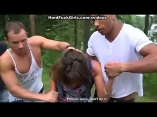 Forced Hardcore Outdoor Teen Threesome