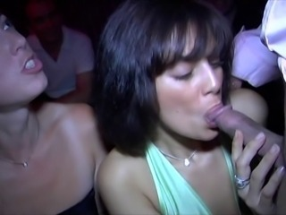 Blowjob Clothed MILF Party Public