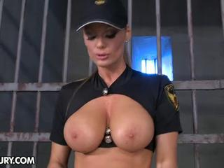 Amazing Big Tits MILF Natural Prison Uniform